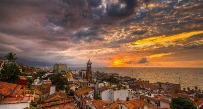 Downtown Vallarta's sunset